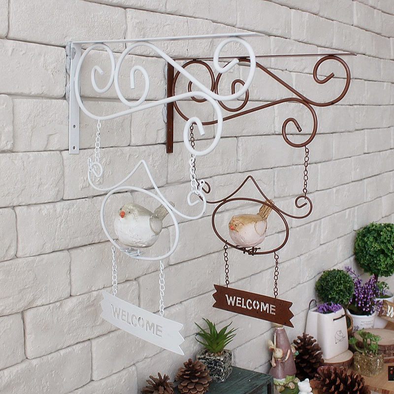Vintage Home Decor Cafe Clothing Store Wall Hanging Garden Decor Wind Wrought Iron Birds Welcome Tag