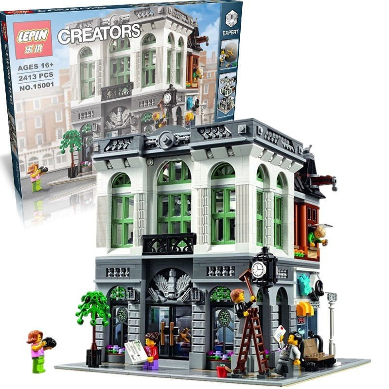 the legoinglys New LEPIN 15001 Brick green Bank Model Building Kits Blocks Bricks Kits Toy Compatible With 10251 ynynoo bela 10501 233pcs princess friend elves elvendale school of dragons model building kits blocks brick with 41173