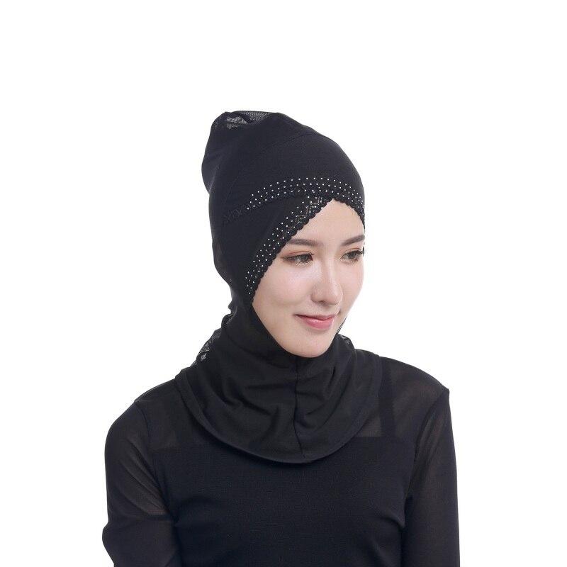 Chic Mulheres Muçulmanas Sob Cachecol Cap Chapéu Gorro Ninja Hijab Islâmico  Cobertura Pescoço em Vestuário islâmico de Novidade   Uso Especial no ... bdd9b543093