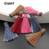 NP273 Wholesale High Quality Leather Tassel Pendant Bohemian Style Charm Micro Paved Textile Tassel 12*90mm For Women