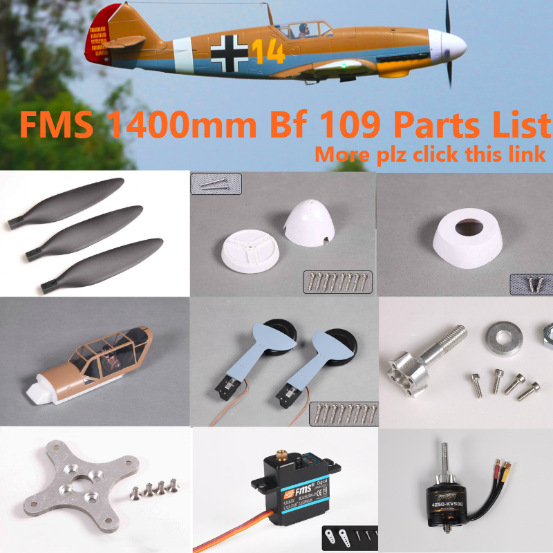 FMS 1400mm 1.4m Bf109 Bf 109 Parts Propeller Spinner Motor Shaft Board Mount Landing Gear Retract Etc RC Airplane Plane Aircraft