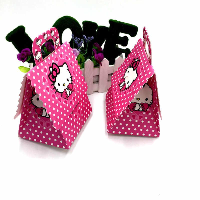6 шт., коробки для конфет с изображением котенка и мышки, Детские вечерние школьные сумки, сумки с принтом «hello Kitty» для конфет, товары для дня рождения, подарочные коробки «hello kitty»