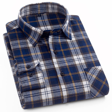 2018 New Model Plaid Thick Brushed Shirts Business Casual Men Shirts Cotton High Quality