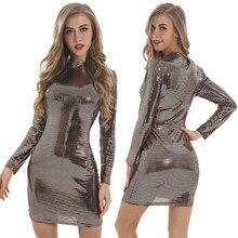 3fce40e602 Z długim rękawem wysoka Neck sukienka z cekinami Sexy złota czarna sukienka  w kratę Bodycon Vestidos kobiety nowy zima wiosna Mi.