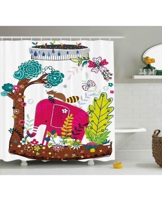 Kids Shower Curtain Jungle Animals Elephant Print For Bathroom Waterproof And Mildew Resistant Set Hooks