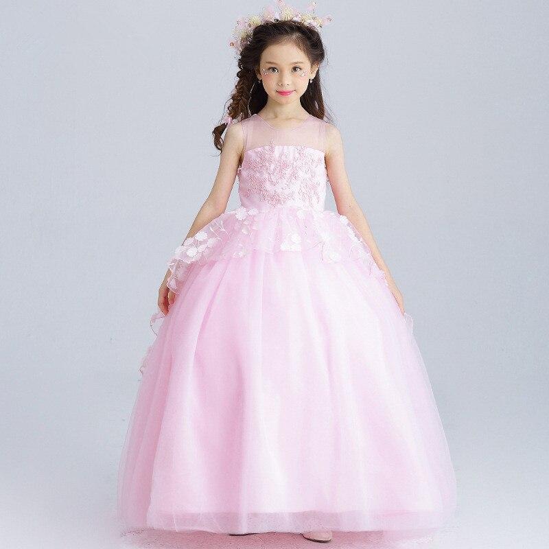 Long Girls Dress Princess Appliques Green Flower Girl Vestido for ...