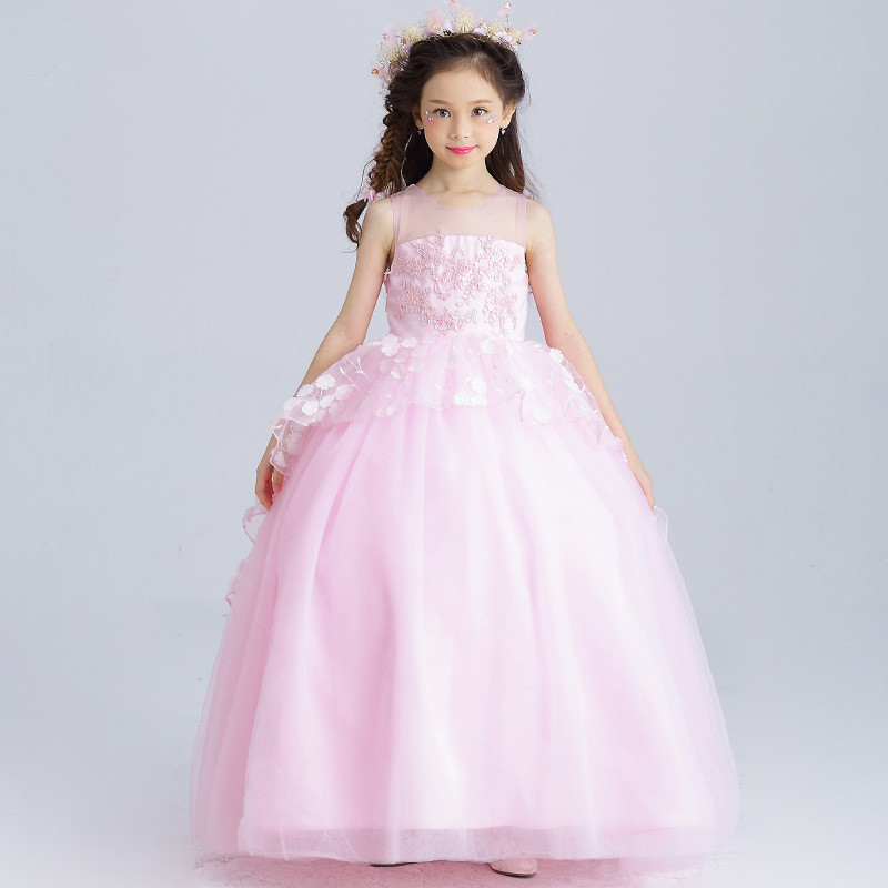 купить Long Pink Girls Dress Ball Gown Flowers Decorated Flower Girl Vestido for Party 2018 Girl Clothes 4 6 8 10 12 14 Years RKF174030 онлайн