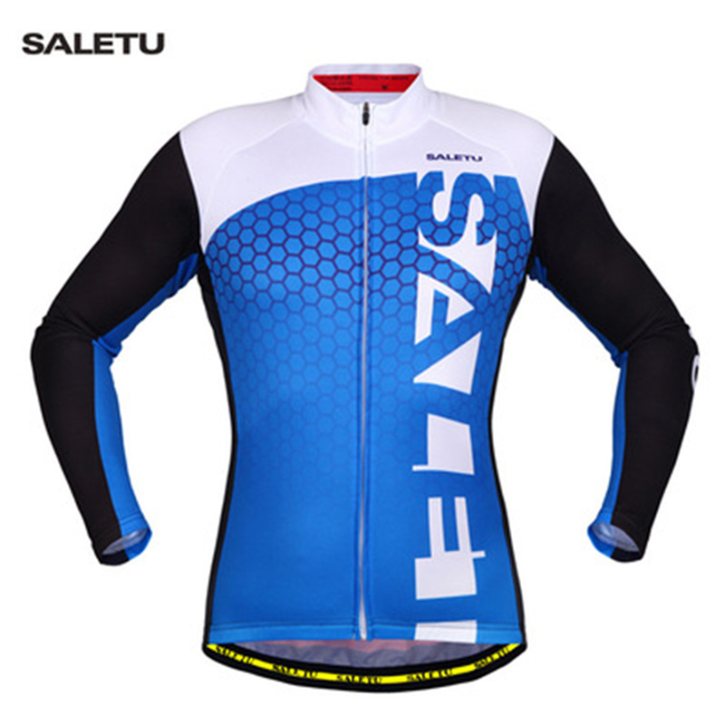 2 Colors SALETU Brand Top Quality Outdoor Sport Quick Dry Breathable Durable Long Sleeve Cycling Jersey Men Women Riding Shirt