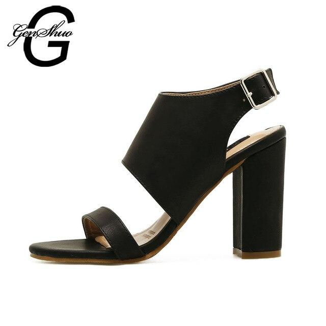 c698e94c3b7 GENSHUO Women Shoes Buckle Style Chunky High Heels Sandals Lady Block Heel  Pumps Summer High Heels 10cm Black Brown Size 35-10