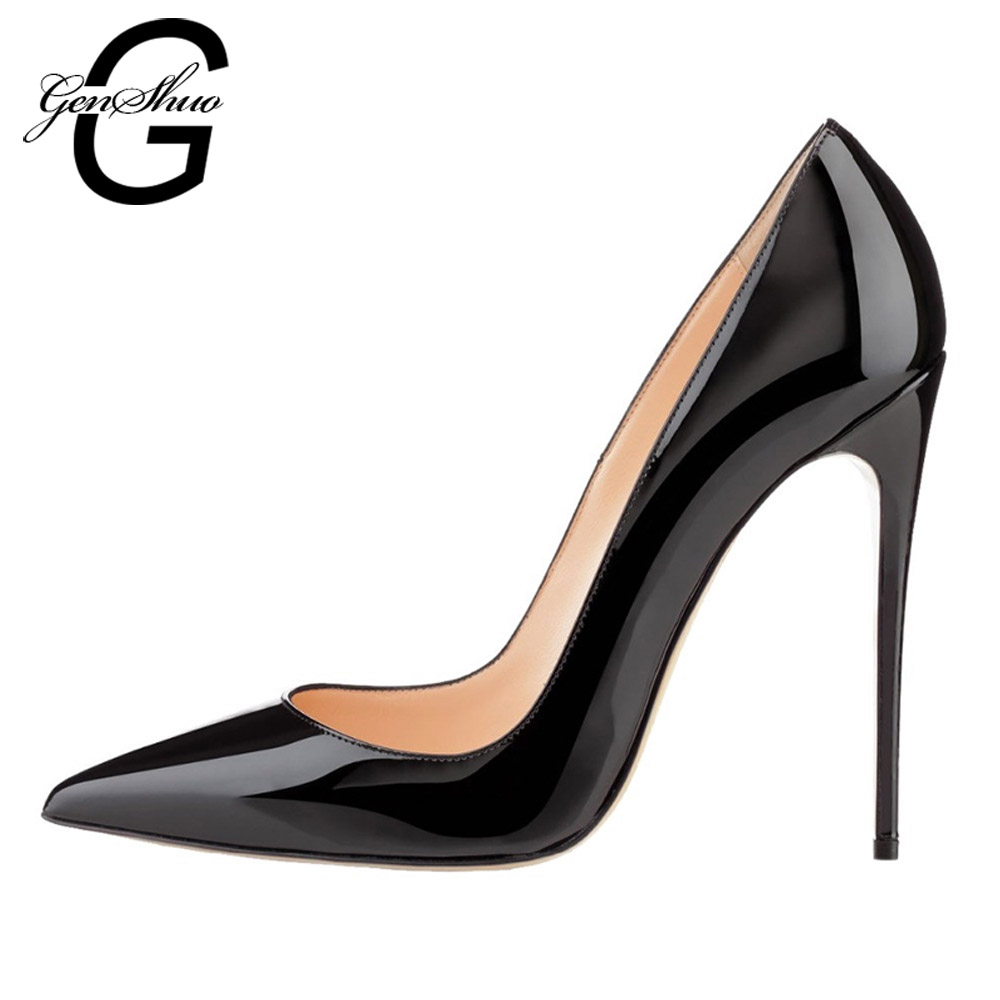 GENSHUO Women Pumps Brand Høye hæler Svart Patent Leather Pointed Toe Sexy Stiletto Shoes Woman Ladies Plus Big Size 11 12