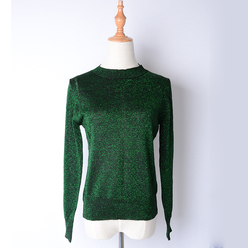 2017 Women Fashion Design Long Sleeve Solid Color Green Knitted Blouse Factory Price Plus Size XXXL