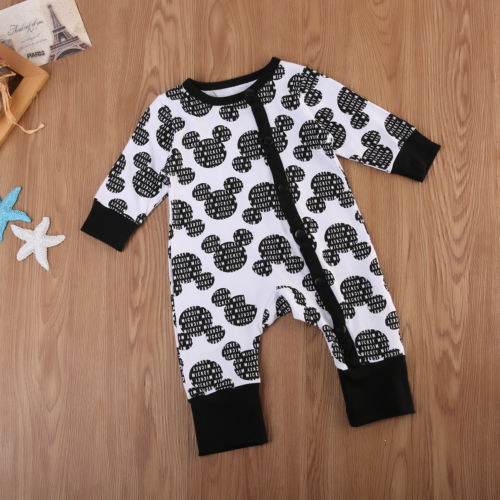 Lovely Toddler Kids Baby Boys Mickey Letters   Romper   Jumpsuit Playsuit Outfits Clothes
