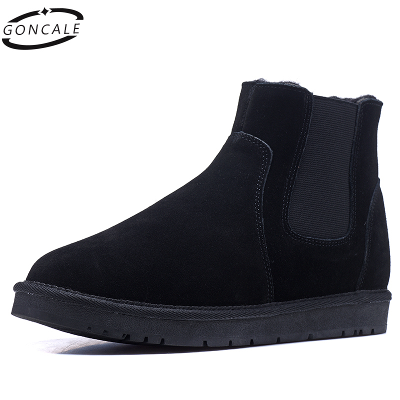 Natural Wool Men boots Winter Boots Size 35~46 Warmest Genuine Leather Russian style Men Chelsea Boots Big Size warmest genuine leather snow boots size 37 50 brand russian style men winter shoes 8815