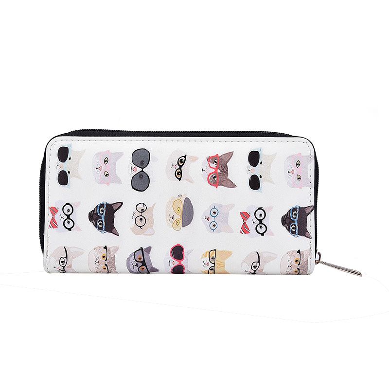 Women's Cat Print Cartoon Long Wallet Large Capacity Ladies Clutch Purse With Phone Pocket PU Leather Card Holder Wallets fashion flamingo floral print women long wallet large capacity clutch purse phone bag pu leather ladies card holder wallets