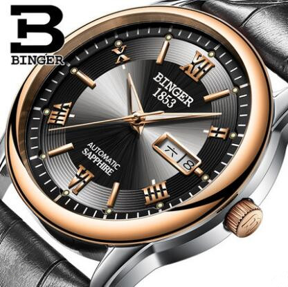 Binger Men watches Automatic mechanical watch tourbillon Sport clock leather Casual business wristwatch Gold relojes hombre 2017 new full steel automatic watch binger casual fashion wristwatch with gold calendar man business hours clock relogio reloj