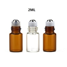 100ピース/ロット1ミリリットル、2ミリリットル透明な空に瓶アンバーエッセンシャルオイルバイアルローラーボトル