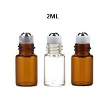 100 Stks/partij 1Ml, 2Ml Clear Lege Roll Op Fles Amber Etherische Olie Fles Glazen Flacon Roller Fles