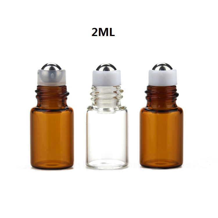 100pcs/lot 1ml,2ml clear empty roll on bottle amber essential oil glass vial roller