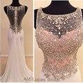 Elegante Rosa Claro Vestidos de Noche Largos 2016 Ilusión Volver Cristales Moldeados de Lujo Piedras Formal Partido Prom Vestidos