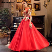 Wine Red 2019 A line Half Sleeve Lace Formal Long Evening Dresses gold lace Evening Gowns Prom Party Dress Robe De Soiree