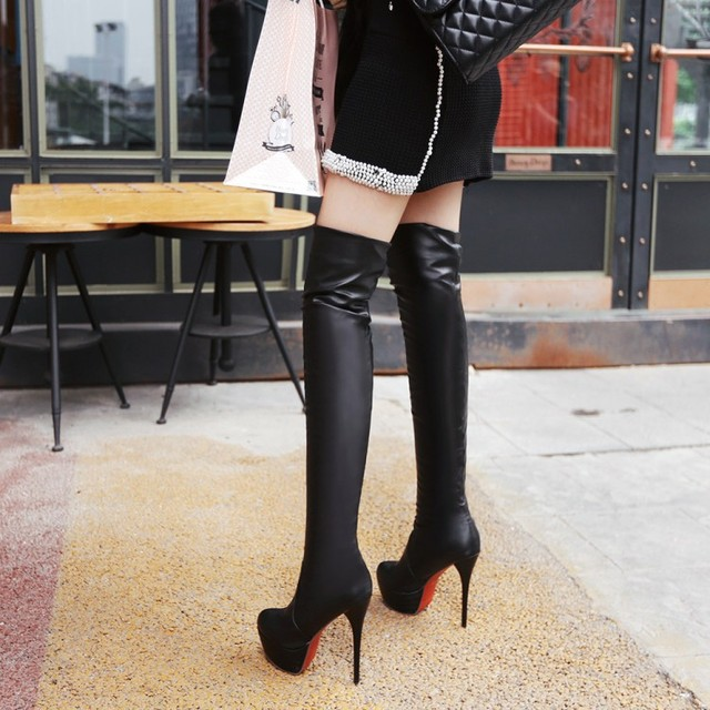 Women Over The Knee High Boots Winter Shoes Thin High Heel Pointed Toe Women Motorcycle  Boots Sexy Black White Brown Botas