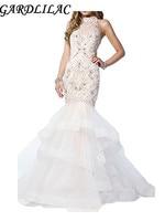 Gardlilac рюшами Холтер Русалка торжественное платье 2017 Sparkly Bridals платье белое платье на свадьбу с бисером жемчуг