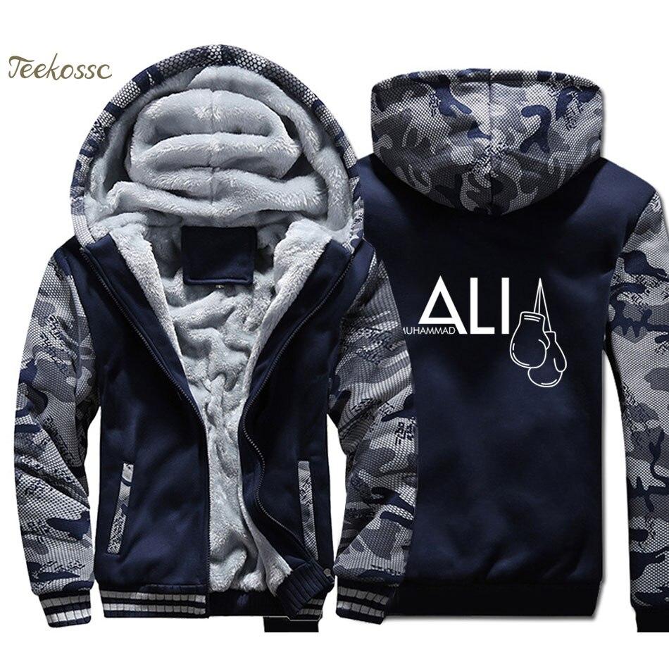 MUHAMMAD ALI  Hoodie Men Dark Blue Camouflage Hooded Sweatshirt Coat 2018 Winter Warm Fleece Thick Print Jacket Plus Size 4XL