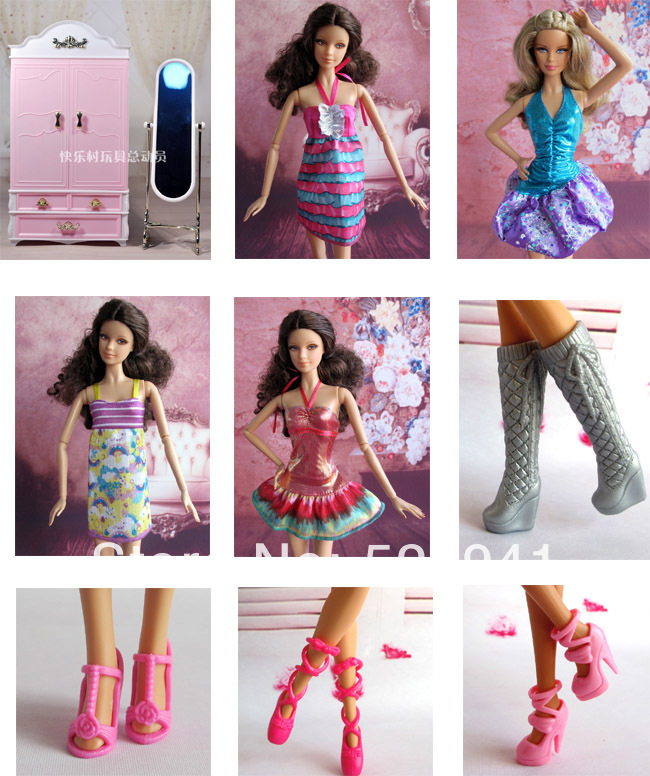 Free delivery,30pcs doll mini furnishings (1 wardrobe+1 moirror+ three garments+10 footwear+5 hangers) for barbie doll kurhn doll