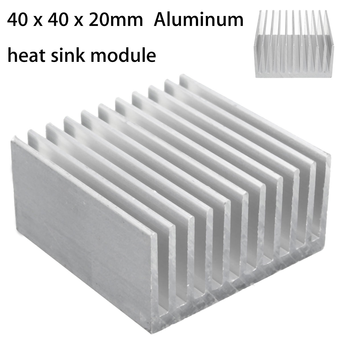 Leory 40x40x20mm Aluminum Heat Sink Cooler IC Heatsink Cooling Fin Radiator For CPU LED Power Component Cooling Accessories 120x69x27mm aluminum radiator high power heatsink for electronic chip cpu gpu vga ram led ic heat sink cooler cooling