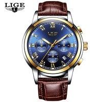 LIGE męskie zegarki Top marka luksusowy złoty zegarek kwarcowy mężczyźni Casual Pilot wojskowy wodoodporny sportowy zegarek Relogio Masculino w Zegarki kwarcowe od Zegarki na