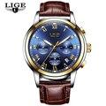 Relojes LIGE para hombre, reloj de pulsera de cuarzo de lujo de oro, para hombre, reloj de pulsera deportivo impermeable militar piloto informal, reloj Masculino
