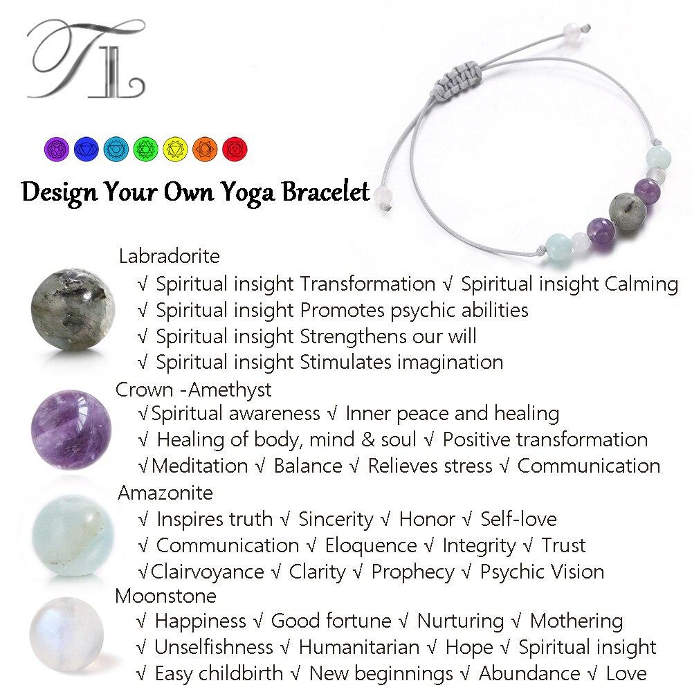 TL New Healing Bracelets Mix Color Natural Labradorite Purple Crystal Amazonite Moonstone Handmade Yoga Bracelet Positive Energy
