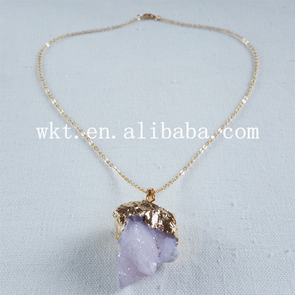 stone item rainbow quartz necklace pendant from necklacefor chakra crystal women rock natural color irregular gold for fashion necklaces chain in jewelry