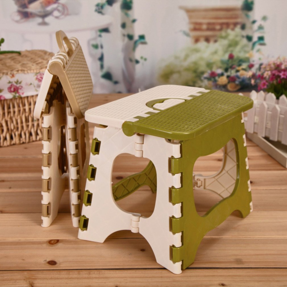 New Home Kitchen Indoor Multifunctional Portable Folding Comfortable Stool Space Saving Plastic Chair Easy Storage