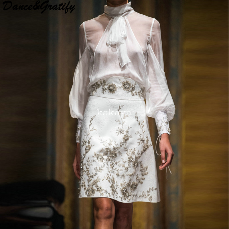 Women Luxury Brand Designer Christmas Party Set Bow Chiffon Blouses and Embroidery Flowers Crystal Skirt Runway