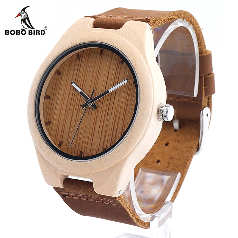 BOBO BIRD New Styles Maple Wood Watches Men's Luxulry Brand Clock Leather Band Wooden Bamboo Wristwatches relojes hombre