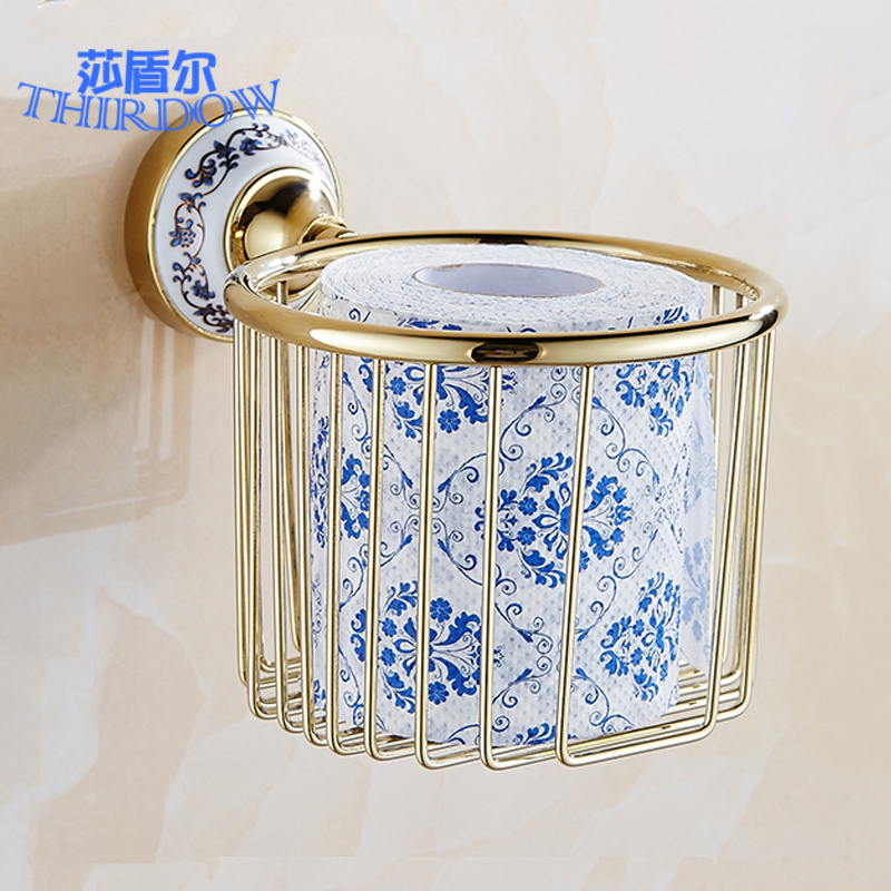 ФОТО free shipping Zinc-Alloy gold chrome rose golden porcelain Paper Holder Wall Mounted Bathroom Accessories Paper towel Basket box