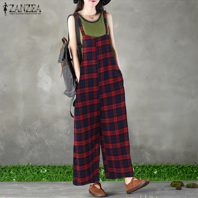 ZANZEA Women Dungarees Bib Overalls Summer Strappy Plaid Check Loose Jumpsuits Rompers Casual Pockets Wide Leg Pants Plus Size