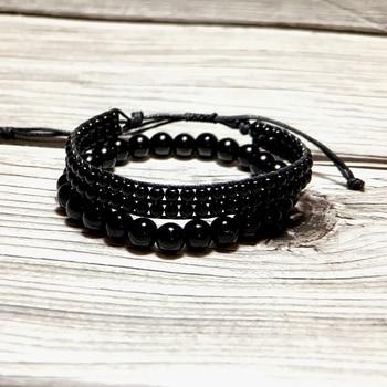 Black Obsidian Charm Handmade Bracelet