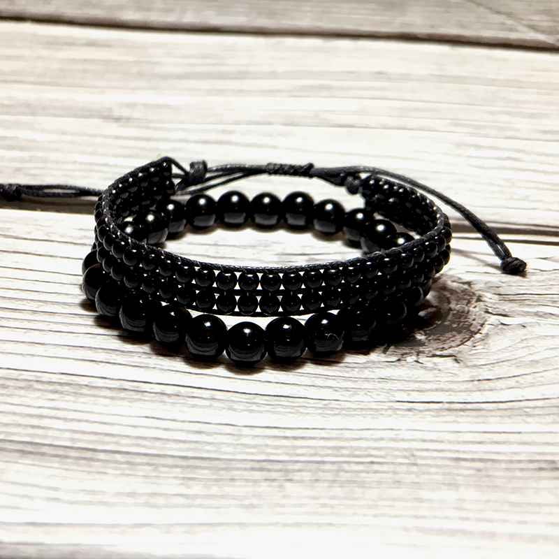Fashion Black Obsidian Bracelet Adjustable Braided String Braclet Men WOmen Paired Braslet Erkek Bileklik Homme Accessories