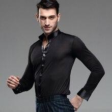Mens Dance Shirt Long Sleeved Male Adult Modern Suit Fashion Latin Costume Rumba Samba Clothes B-4230