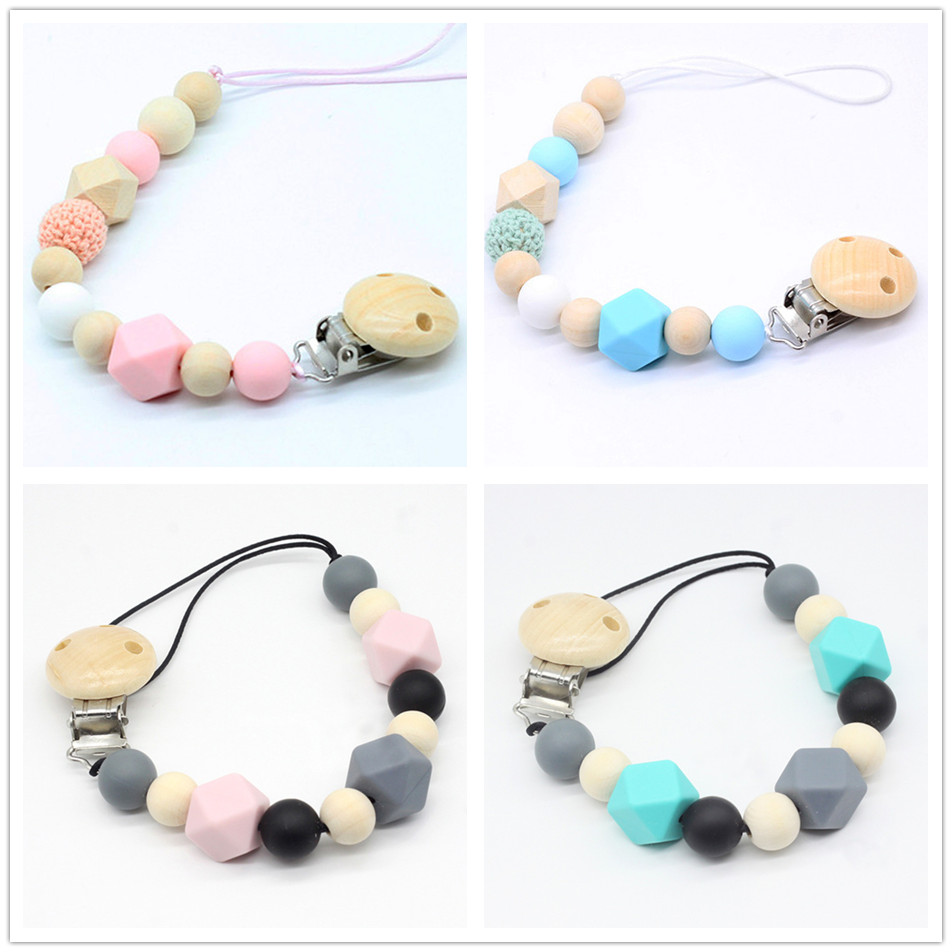 Personalized Silicone Teething Pacifier Clips With Safe ABS Beads Silicone Pacifier Chain Holder For Nipples Baby Chew Toys