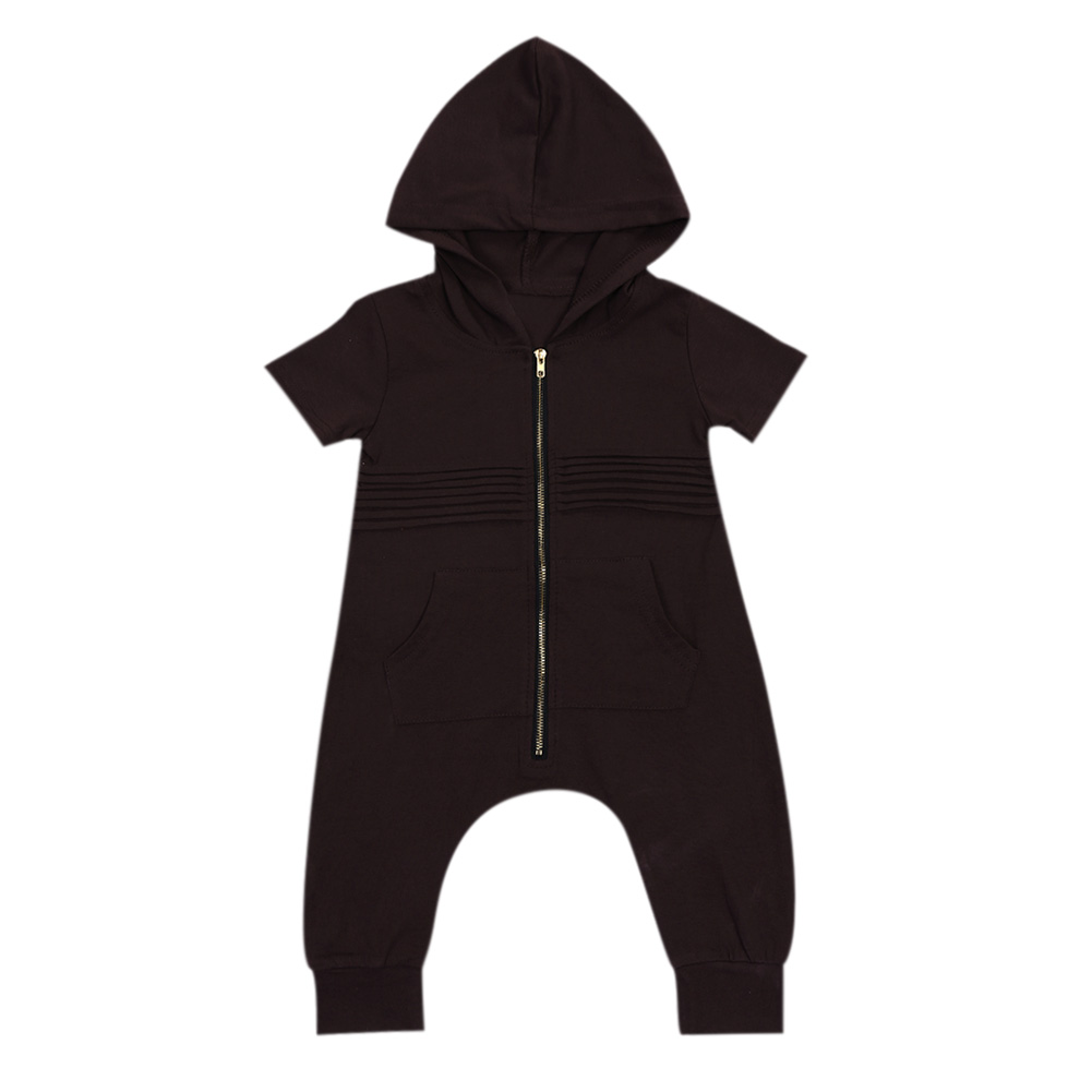Newborn Baby Girls Boy Clothing Hooded Romper Short Sleeve Jumpsuit Cotton Casual Pocket Outfits Baby Boys Clothes Bebes Rompers