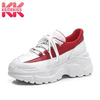 KemeKiss Women Sneakers Genuine Leather Vulcanized Shoes Women White And Red Lace Up Outdoor Fitness Wedges Sneaker Size 34 39