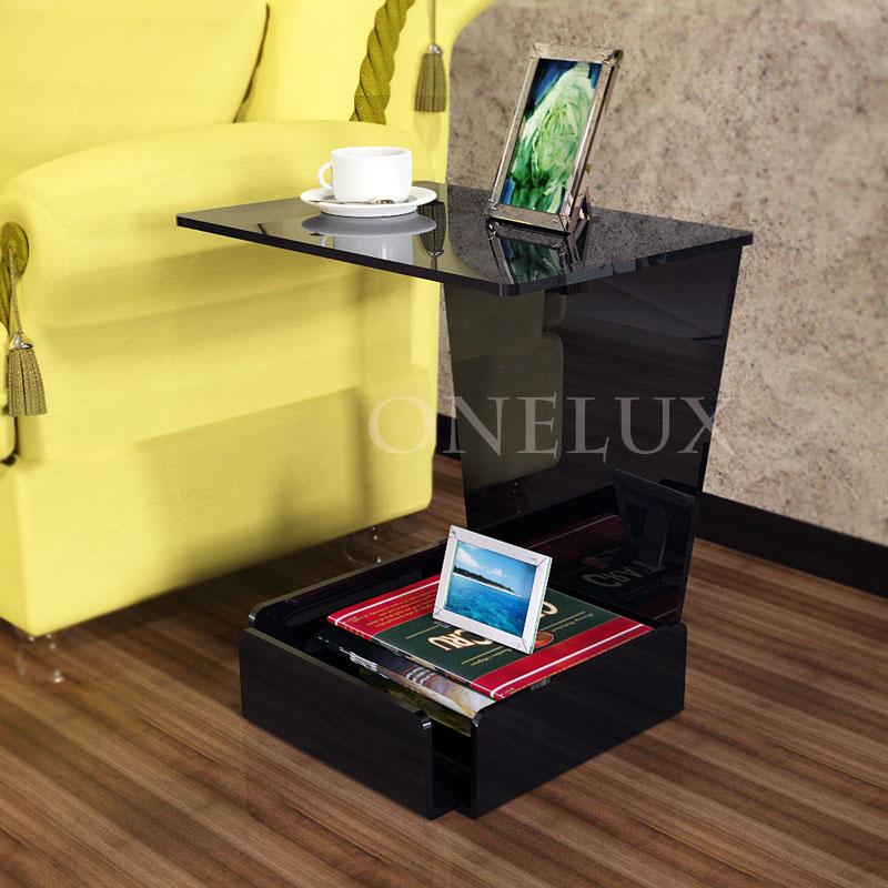Waterfall Acrylic  Lounge Sofa Storage Table,Lucite Side Tea With A Storage Base Pocket one lux waterfall acrylic lucite lounge sofa table plexiglass waiting room magazine side coffee corner tables