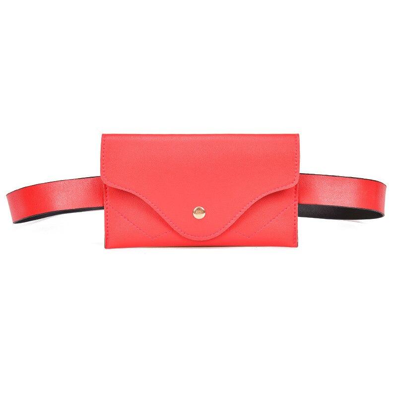 BONAMIE Red Leather Fanny Pack Fashion Women Waist Belt Bag For Girl Female Adjustable Pu Waist Bag Small Flap Chest Bag