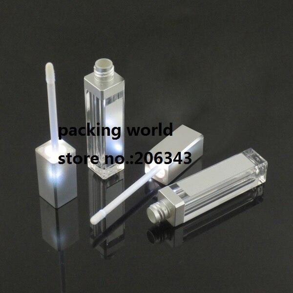 8ml square shape lip gloss tube with <font><b>LED</b></font> <font><b>light</b></font> &#038;mirror silver lid for lip balm tube/ lip stick tube/lashes grow tube packing