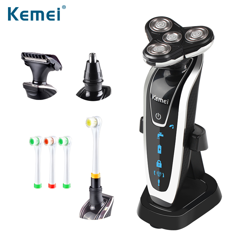 Kemei 4 in 1 Washable Rechargeable Electric Shaver 4 Blades Electric Shaving Razors Multifunction Face Care 3D Floating 5181 electric shaver triple blade electric shaving razors men face care 4d floating km 5181 washable rechargeable 4 in 1 kemei