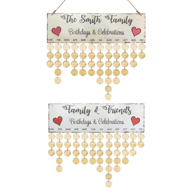 2018 DIY Wooden Hanging Calendar Family Friend Birthday Reminder Specil Date Mark Sign Board Korean Style Wall Calendario Decor diy wall hanging wooden family birthday calendar