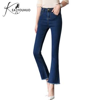 1c028a49 Новинка 2018 Женские винтажные темно-синие черные Джинсы бойфренда с  высокой талией женские брюки, джинсовые штаны обтягивающие расклешенны.